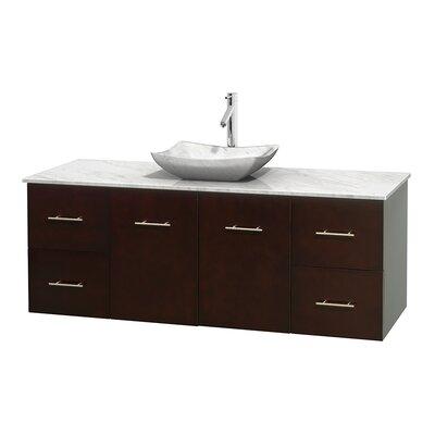 Centra 60 Single Bathroom Vanity Set Base Finish: Espresso, Top Finish: White Carrera, Basin Finish: White Carrera Marble