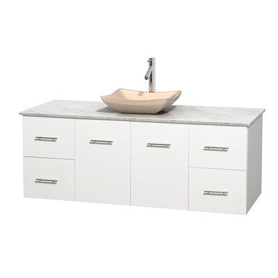 Centra 60 Single Bathroom Vanity Set Base Finish: Matte White, Basin Finish: Ivory Marble, Top Finish: White Carrera
