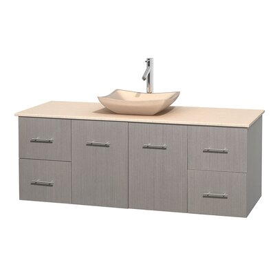 Centra 60 Single Bathroom Vanity Set Base Finish: Gray Oak, Top Finish: Ivory, Basin Finish: Ivory Marble