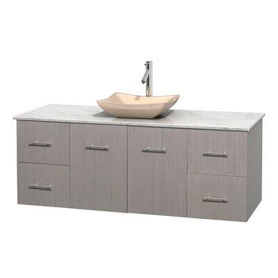 Centra 60 Single Bathroom Vanity Set Base Finish: Gray Oak, Top Finish: White Carrera, Basin Finish: Ivory Marble