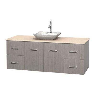 Centra 60 Single Bathroom Vanity Set Base Finish: Gray Oak, Top Finish: Ivory, Basin Finish: White Carrera Marble