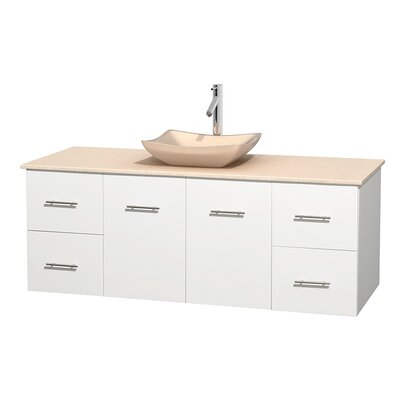 Centra 60 Single Bathroom Vanity Set Base Finish: Matte White, Top Finish: Ivory, Basin Finish: Ivory Marble