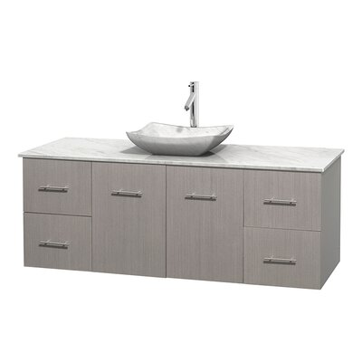 Centra 60 Single Bathroom Vanity Set Base Finish: Gray Oak, Top Finish: White Carrera, Basin Finish: White Carrera Marble