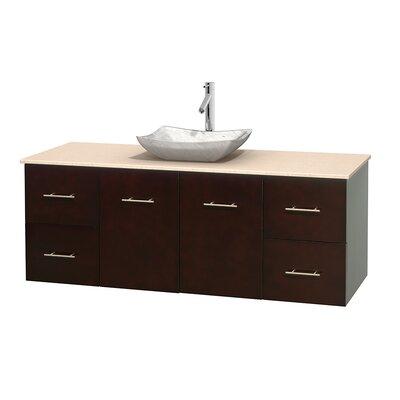 Centra 60 Single Bathroom Vanity Set Base Finish: Espresso, Top Finish: Ivory, Basin Finish: White Carrera Marble