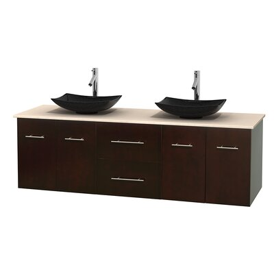 Centra 72 Double Bathroom Vanity Base Finish: Espresso, Top Finish: Ivory