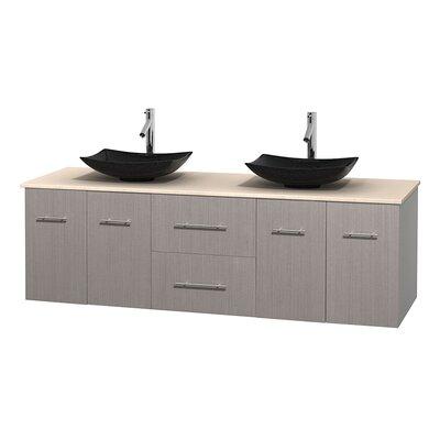 Centra 72 Double Bathroom Vanity Base Finish: Gray Oak, Top Finish: Ivory