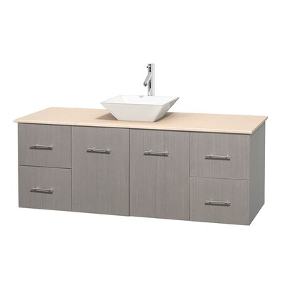 Centra 60 Single Bathroom Vanity Set Base Finish: Gray Oak, Top Finish: Ivory, Basin Finish: White Porcelain