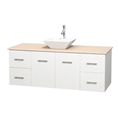 Centra 60 Single Bathroom Vanity Set Base Finish: Matte White, Top Finish: Ivory, Basin Finish: White Porcelain