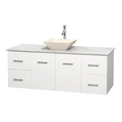 Centra 60 Single Bathroom Vanity Set Base Finish: Matte White, Top Finish: White Carrera, Basin Finish: Bone Porcelain