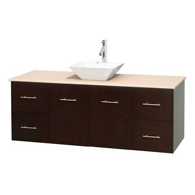 Centra 60 Single Bathroom Vanity Set Base Finish: Espresso, Top Finish: Ivory, Basin Finish: White Porcelain