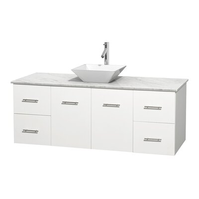 Centra 60 Single Bathroom Vanity Set Basin Finish: White Porcelain, Top Finish: White Carrera, Base Finish: Matte White