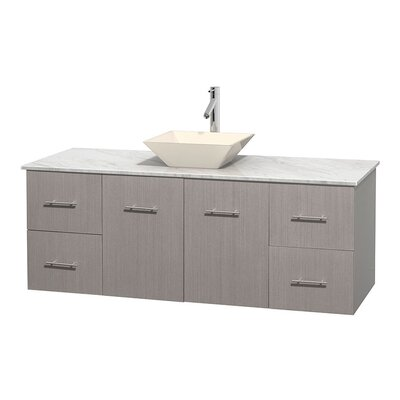 Centra 60 Single Bathroom Vanity Set Base Finish: Gray Oak, Top Finish: White Carrera, Basin Finish: Bone Porcelain