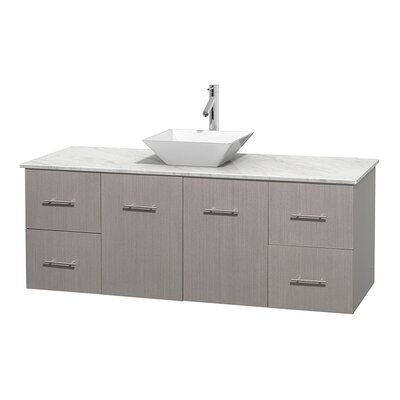 Centra 60 Single Bathroom Vanity Set Base Finish: Gray Oak, Top Finish: White Carrera, Basin Finish: White Porcelain