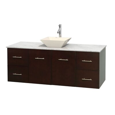 Centra 60 Single Bathroom Vanity Set Base Finish: Espresso, Top Finish: White Carrera, Basin Finish: Bone Porcelain