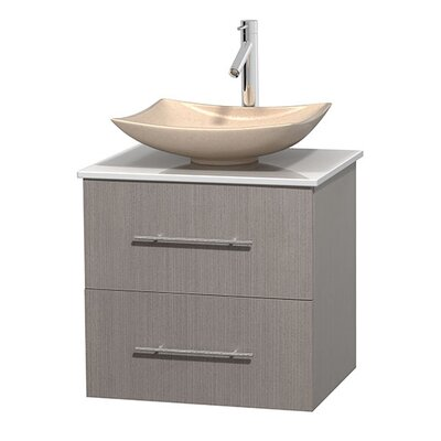 Centra 24 Single Bathroom Vanity Set Base Finish: Gray Oak, Basin Finish: Arista Ivory