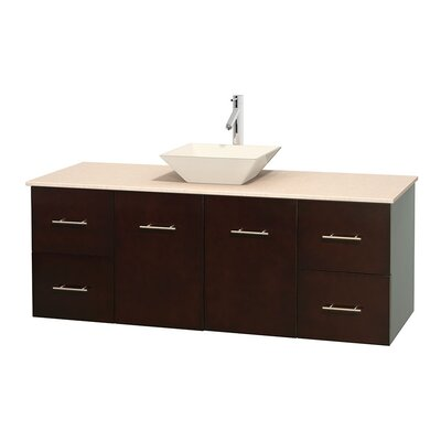 Centra 60 Single Bathroom Vanity Set Base Finish: Espresso, Top Finish: Ivory, Basin Finish: Bone Porcelain