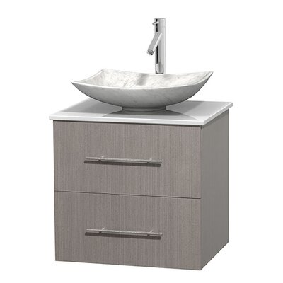 Centra 24 Single Bathroom Vanity Set Basin Finish: Arista White Carrera, Base Finish: Gray Oak