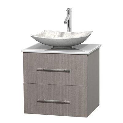 Centra 24 Single Bathroom Vanity Set Base Finish: Gray Oak, Basin Finish: Arista White Carrera
