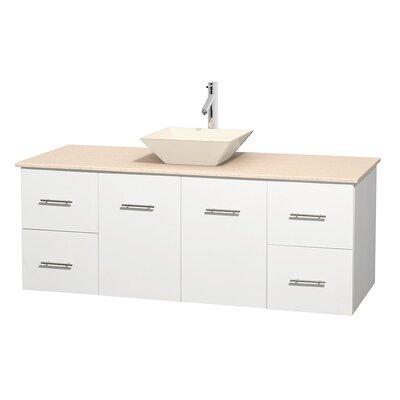 Centra 60 Single Bathroom Vanity Set Base Finish: Matte White, Top Finish: Ivory, Basin Finish: Bone Porcelain