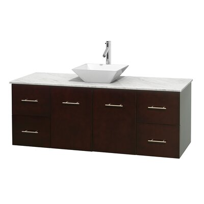 Centra 60 Single Bathroom Vanity Set Top Finish: Ivory, Basin Finish: Bone Porcelain, Base Finish: Gray Oak