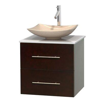 Centra 24 Single Bathroom Vanity Set Basin Finish: Arista Ivory, Base Finish: Espresso