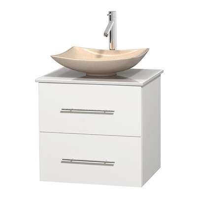 Centra 24 Single Bathroom Vanity Set Base Finish: Matte White, Basin Finish: Arista Ivory