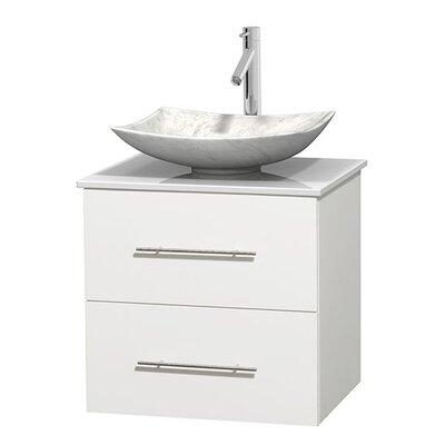 Centra 24 Single Bathroom Vanity Set Base Finish: Matte White, Basin Finish: Arista White Carrera