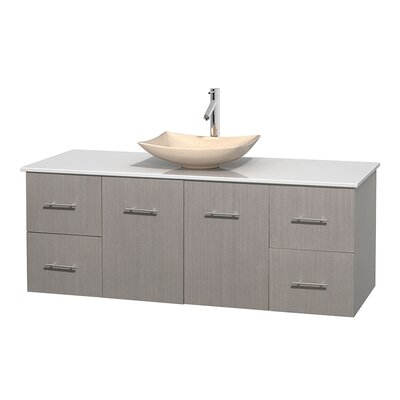 Centra 60 Single Bathroom Vanity Set Base Finish: Gray Oak, Basin Finish: Arista Ivory