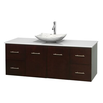 Centra 60 Single Bathroom Vanity Set Basin Finish: Arista White Carrera, Base Finish: Espresso