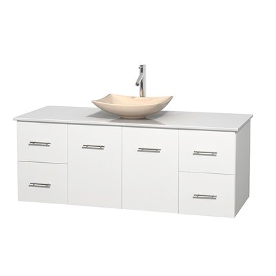 Centra 60 Single Bathroom Vanity Set Base Finish: Matte White, Basin Finish: Arista Ivory