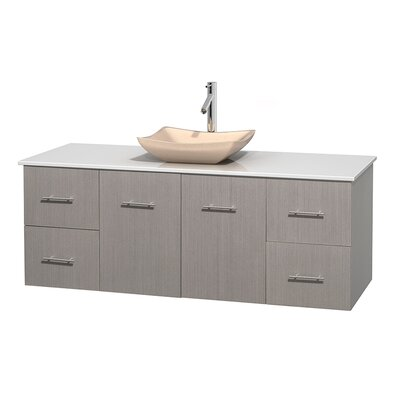 Centra 60 Single Bathroom Vanity Set Base Finish: Gray Oak, Basin Finish: Avalon Ivory