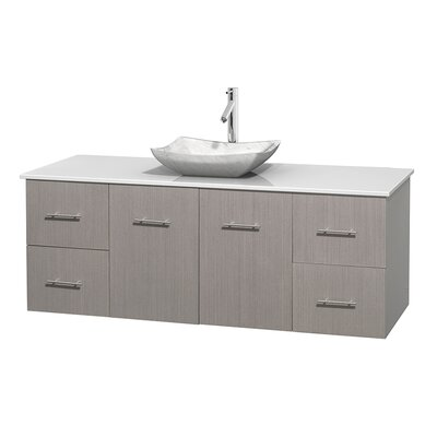Centra 60 Single Bathroom Vanity Set Base Finish: Gray Oak, Basin Finish: Avalon White Carrera