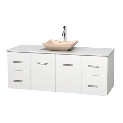 Centra 60 Single Bathroom Vanity Set Base Finish: Matte White, Basin Finish: Avalon Ivory