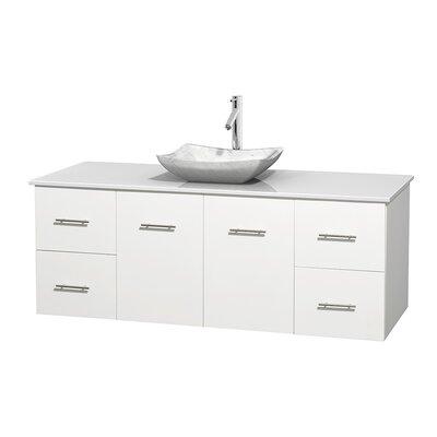 Centra 60 Single Bathroom Vanity Set Basin Finish: Avalon White Carrera, Base Finish: Matte White