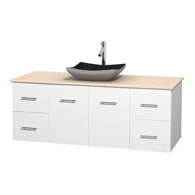 Centra 60 Single Bathroom Vanity Set Base Finish: Matte White, Top Finish: Ivory