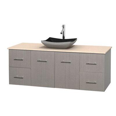 Centra 60 Single Bathroom Vanity Set Top Finish: Ivory, Base Finish: Gray Oak