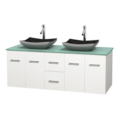Centra 60 Double Bathroom Vanity Set Base Finish: Matte White
