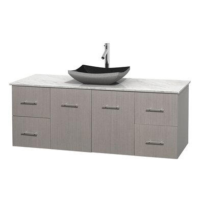 Centra 60 Single Bathroom Vanity Set Base Finish: Gray Oak, Top Finish: White Carrera