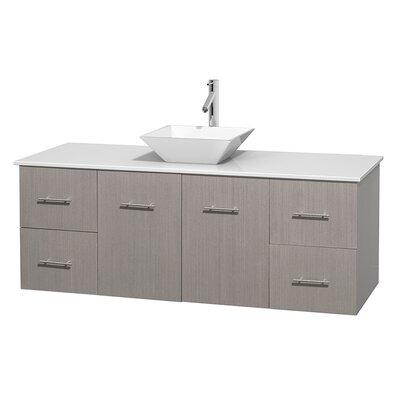 Centra 60 Single Bathroom Vanity Set Base Finish: Gray Oak, Basin Finish: Pyra White