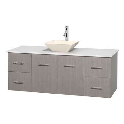 Centra 60 Single Bathroom Vanity Set Base Finish: Gray Oak, Basin Finish: Pyra Bone