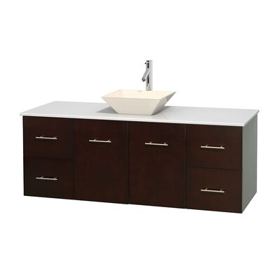 Centra 60 Single Bathroom Vanity Set Base Finish: Espresso, Basin Finish: Pyra Bone