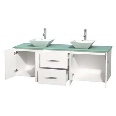 Centra 72 Double Bathroom Vanity Set Base Finish: Matte White, Basin Finish: Arista White Carrera