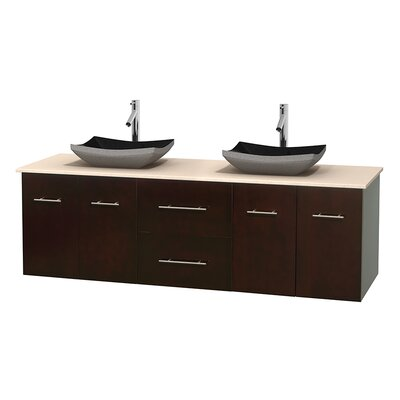 Centra 72 Double Bathroom Vanity Base Finish: Matte White, Top Finish: Ivory