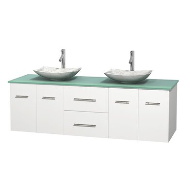 Centra 72 Double Bathroom Vanity Set Base Finish: Matte White, Basin Finish: Arista White Carrera
