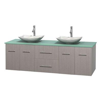 Centra 72 Double Bathroom Vanity Set Base Finish: Gray Oak, Basin Finish: Arista White Carrera