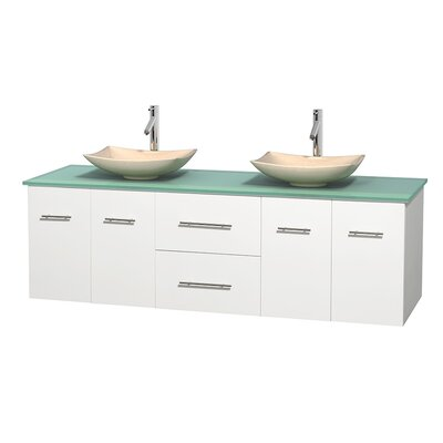 Centra 72 Double Bathroom Vanity Set Base Finish: Matte White, Basin Finish: Arista Ivory