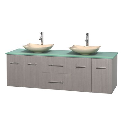 Centra 72 Double Bathroom Vanity Set Base Finish: Gray Oak, Basin Finish: Arista Ivory