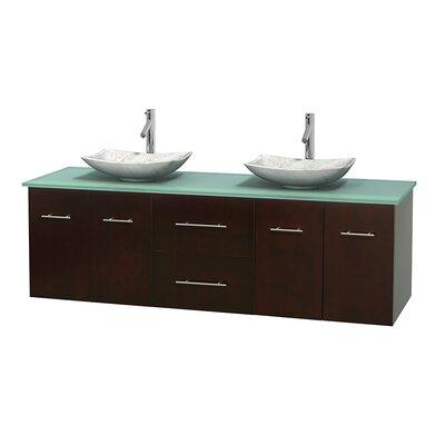 Centra 72 Double Bathroom Vanity Set Base Finish: Espresso, Basin Finish: Arista White Carrera