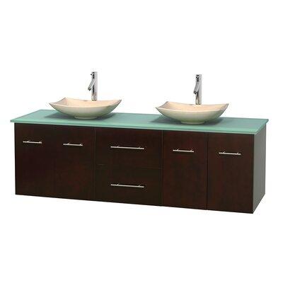 Centra 72 Double Bathroom Vanity Set Base Finish: Espresso, Basin Finish: Arista Ivory