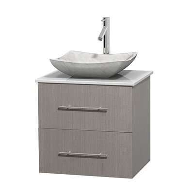 Centra 24 Single Bathroom Vanity Set Base Finish: Gray Oak, Basin Finish: Avalon White Carrera